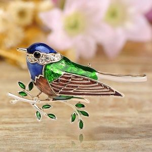 Jewelry - Green-Blue Enamel Bird Brooch
